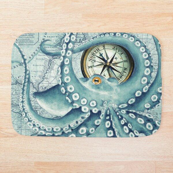 Octopus tentacles kraken vintage map teal compass Bath Mat