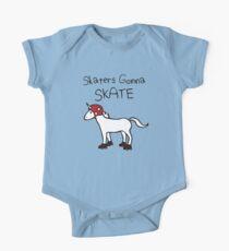 Skaters Gonna Skate (Unicorn Roller Derby) Short Sleeve Baby One-Piece