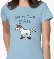 Skaters Gonna Skate (Unicorn Roller Derby) Women's Fitted T-Shirt