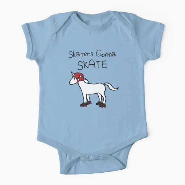Skaters Gonna Skate (Unicorn Roller Derby) Short Sleeve Baby One-Piece
