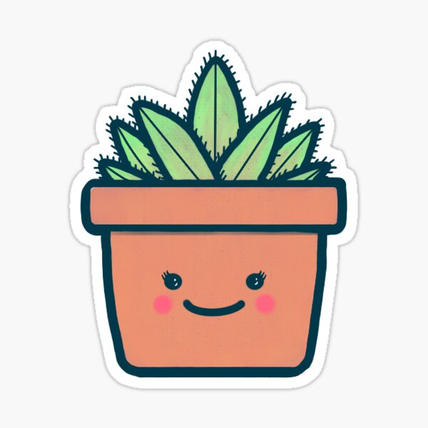 """Cute Potted Plant - """"Penny"""" Glossy Sticker"""