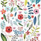 Colorful Preppy Flowers & Botanical Leafs Pattern by artonwear