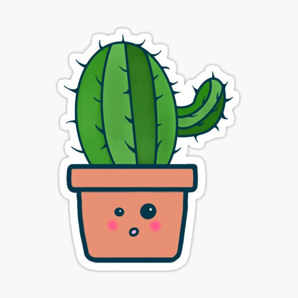 """Cute Potted Plant - """"Ricky"""" Glossy Sticker"""