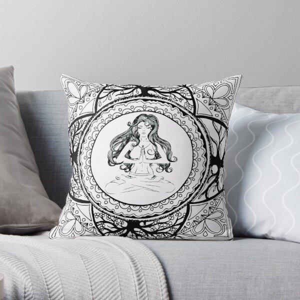 Divine Feminine And Tree Of Life Mandala Throw Pillow