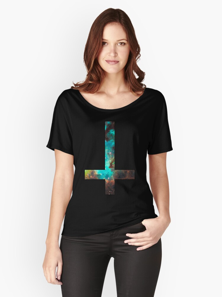 Green Galaxy Inverted Cross Women's Relaxed Fit T-Shirt Front