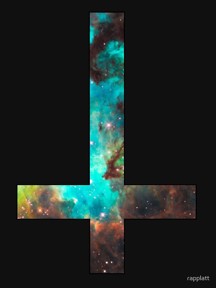 Green Galaxy Inverted Cross by rapplatt