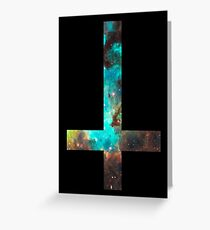 Green Galaxy Inverted Cross Greeting Card