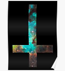 Green Galaxy Inverted Cross Poster