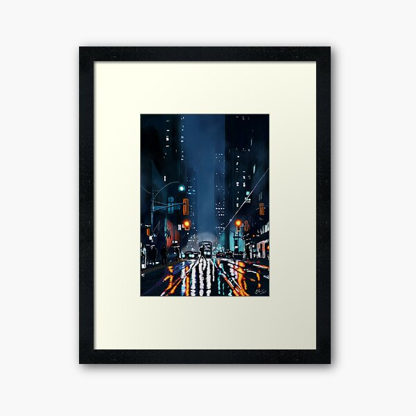 Rainy Night Aesthetic  Framed Art Print