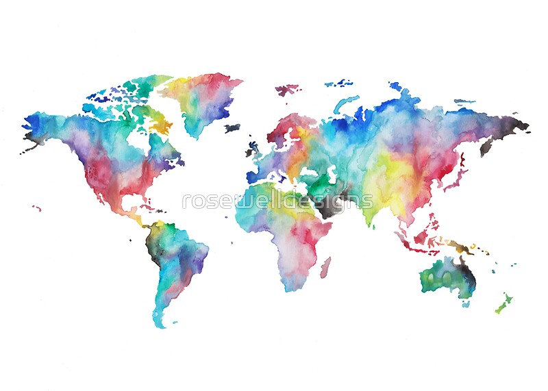 water colour world map stickers by rosewelldesigns. Black Bedroom Furniture Sets. Home Design Ideas