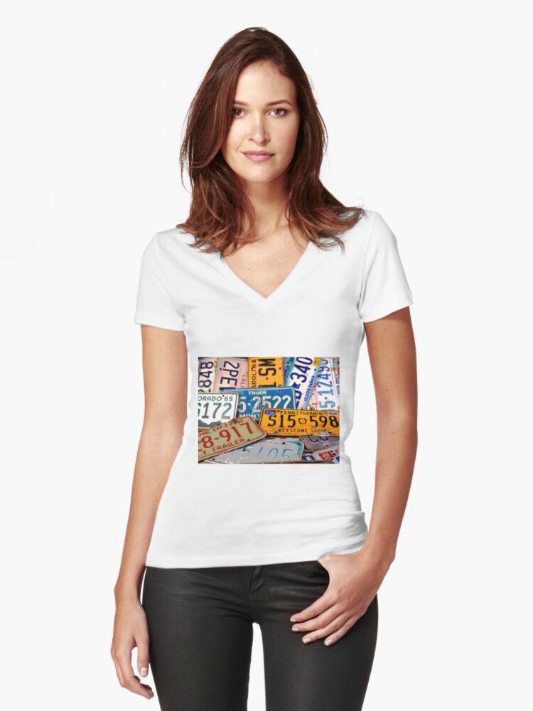 License Plate Poster Women's Fitted V-Neck T-Shirt Front