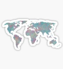 Multicolored Distressed World map Sticker