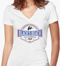 SURFING BLACK'S BEACH SAN DIEGO SURF CALIFORNIA SURFER'S PARADISE BEACH SURFBOARD Women's Fitted V-Neck T-Shirt