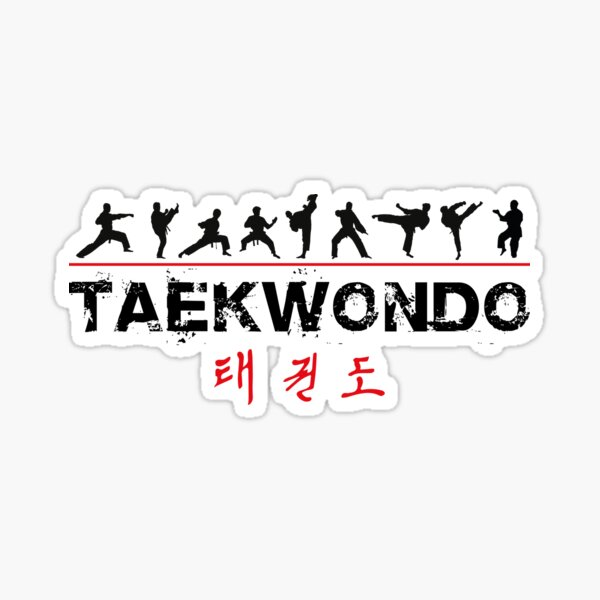 Taekwondo Text and Fighters Sticker