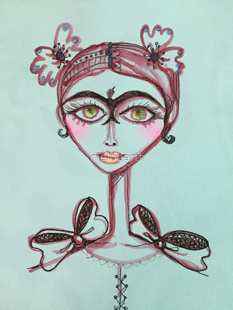 frida kahlo bird unibrow in brown meloearth portrait celebrity cute woman, mexican artist                                     by meloearth