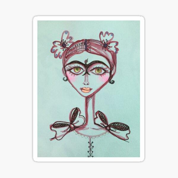frida kahlo bird unibrow in brown meloearth portrait celebrity cute woman, mexican artist                                     Sticker