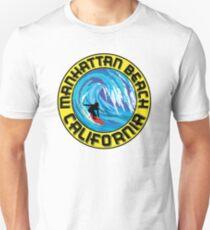 Surfer MANHATTAN BEACH California Surfing Surfboard Waves Ocean Beach Vacation T-Shirt