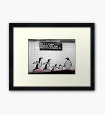 NYC Subway Penguins Framed Print