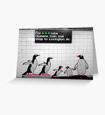 NYC Subway Penguins Greeting Card