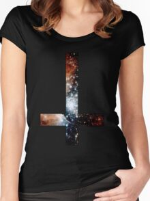 Red Galaxy Inverted Cross Women's Fitted Scoop T-Shirt