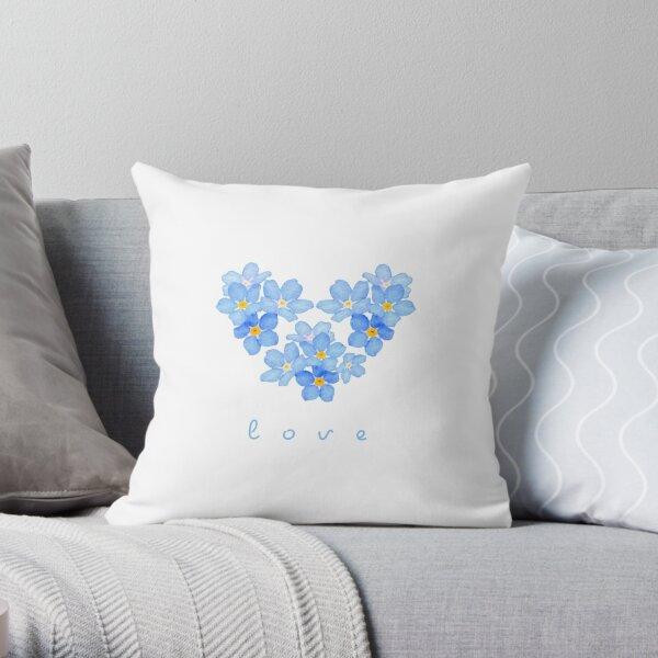 Heart Watercolor Forget Me Not XO4U Original Throw Pillow
