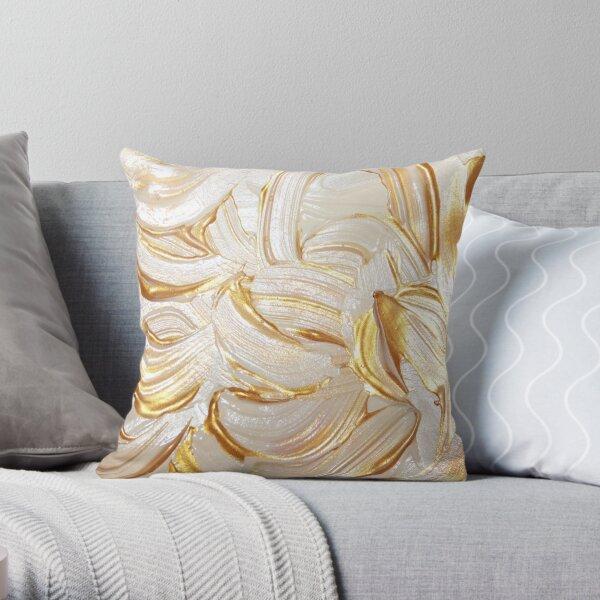 Cream & Gold Wet Paint Throw Pillow