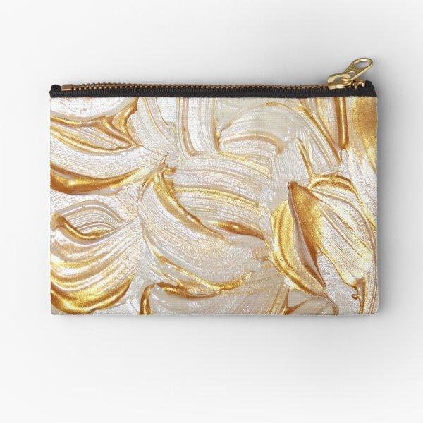 Cream & Gold Wet Paint Zipper Pouch