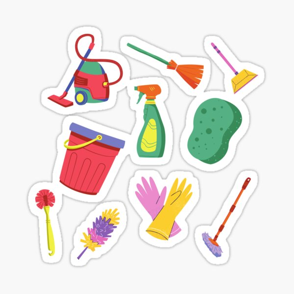 Household Cleaning items sticker 6 pack. Sticker