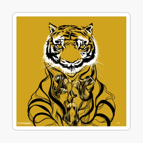 Tiger Beast Face - Stop Asian Hate - AAPI Support Sticker