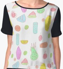 Pattern design with fruits and cakes Women's Chiffon Top