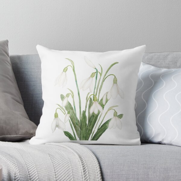 white snowdrop flower botanical watercolor painting  Throw Pillow