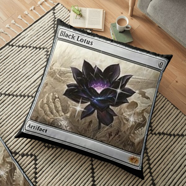 mox sapphire mtg tshirt mask design edit digital black lotus  Floor Pillow