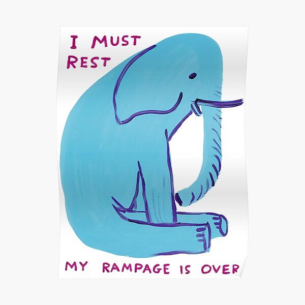 David Shrigley - blauer Elefant sitzt Poster