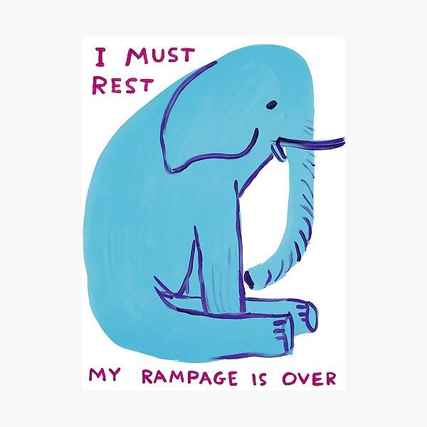David Shrigley - blue elephant is sitting Photographic Print
