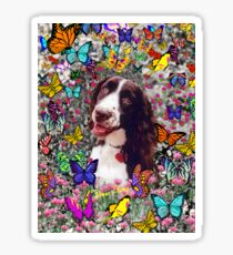 Lady in Butterflies - Brittany Spaniel Sticker