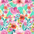 Colorful watercolors floral collage seamless pattern by artonwear