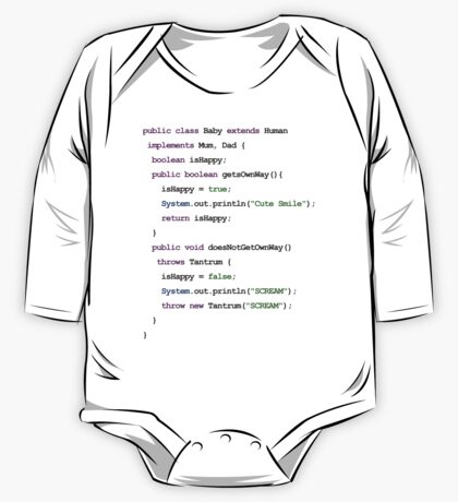 Java Code New Baby - implements Mum, Dad One Piece - Long Sleeve