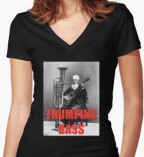 THUMPING BASS - Origins of House Music Women's Fitted V-Neck T-Shirt