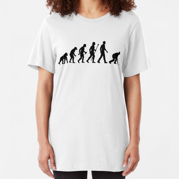 Funny Lawn Bowls Evolution Of Man Slim Fit T-Shirt