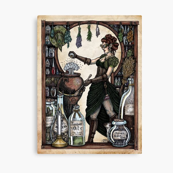 Ezlynn the Industrial Witch by Bobbie Berendson W Canvas Print