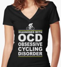 OCD Obsessive Cycling Disorder Funny T Shirt Women's Fitted V-Neck T-Shirt