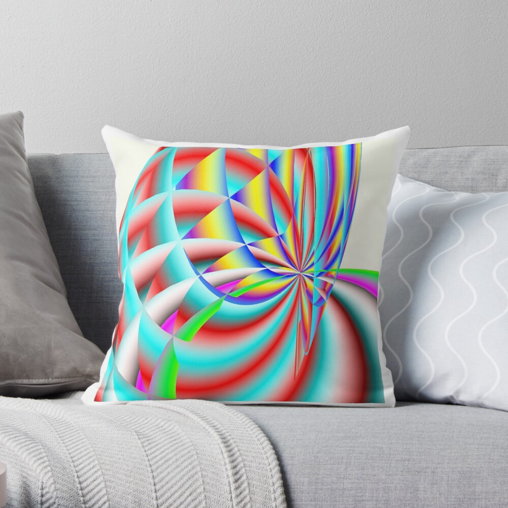 Scalar Rainbow Blossom Throw Pillow
