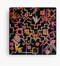 Black, Yellow, Pink Chakana Mash-up Canvas Print