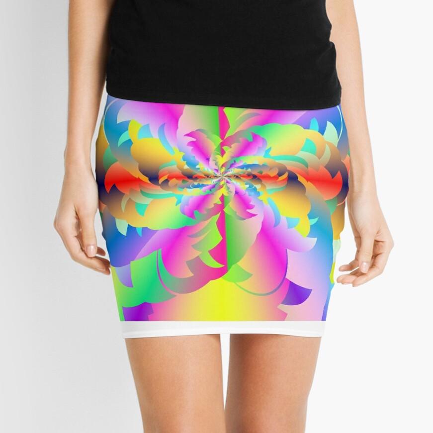 Fractured Fractal Fire Flower Flameout  Mini Skirt