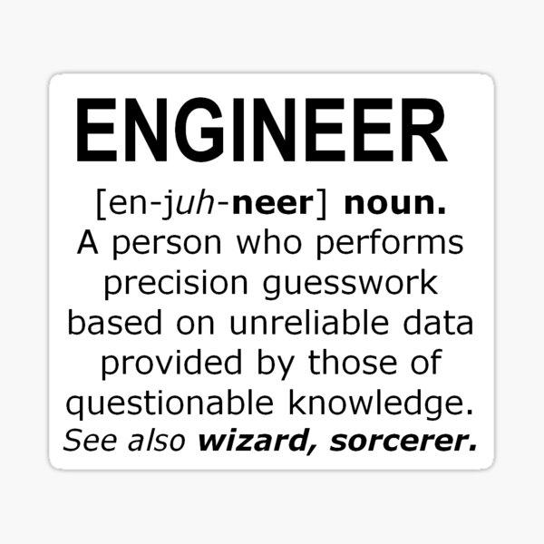 Engineer Definition - Precision Guesswork Sticker