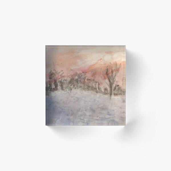 Scottish Winter Snow Scene watercolour design Acrylic Block