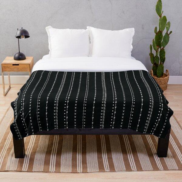 White and black mud cloth boho pattern design Throw Blanket