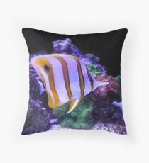 Yellow and White Butterfly Fish Throw Pillow