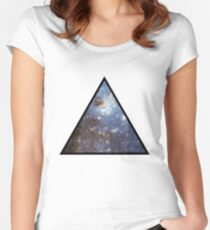 Blue Galaxy Triangle Women's Fitted Scoop T-Shirt