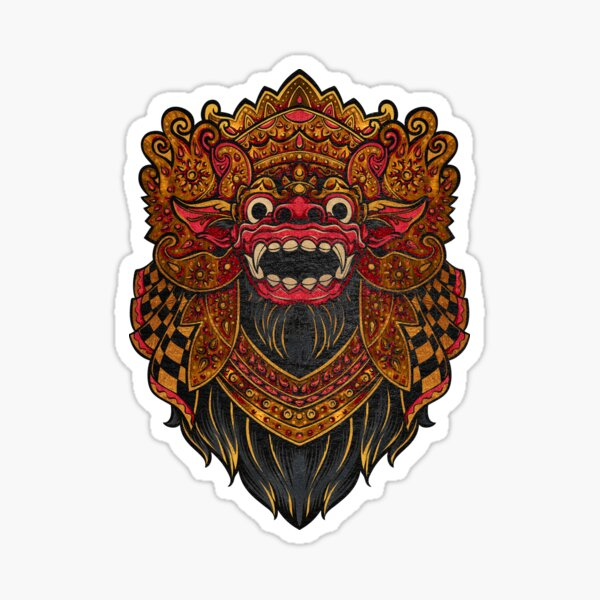 Traditional Balinese Barong Design - Guardian of the Good Sticker